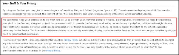 Dropbox, le paragraphe qui dérange