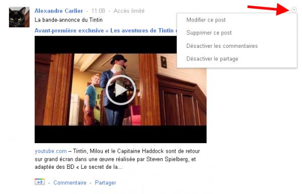 Modifier le partage d'un post sur Google+