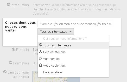 Qui peut voir ces informations sur Google+?
