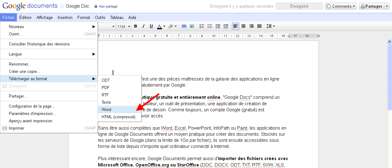 Comment convertir ses google documents en fichiers word - Comment convertir un pdf en open office ...