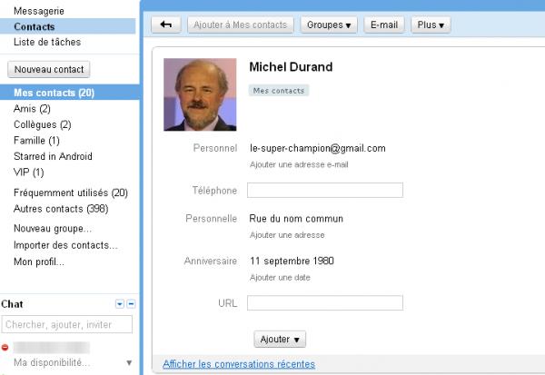 Fiche Nouveau contact sur Gmail