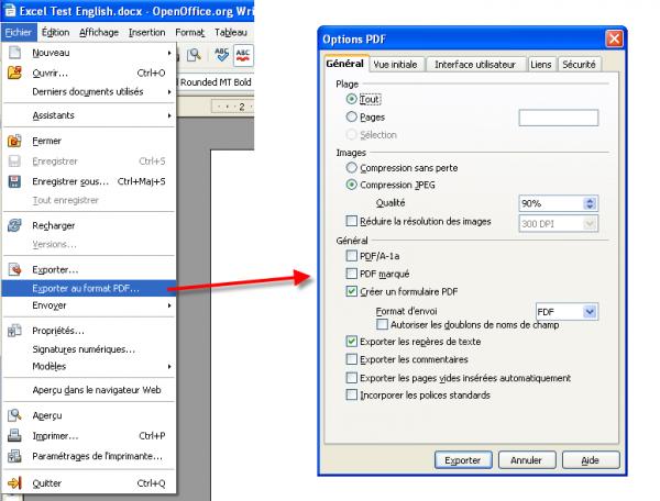 Convertir Doc en PDF avec OkpenOffice