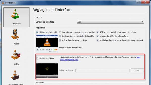 Préférences de l'interface - Accès au site web des thèmes pour VLC