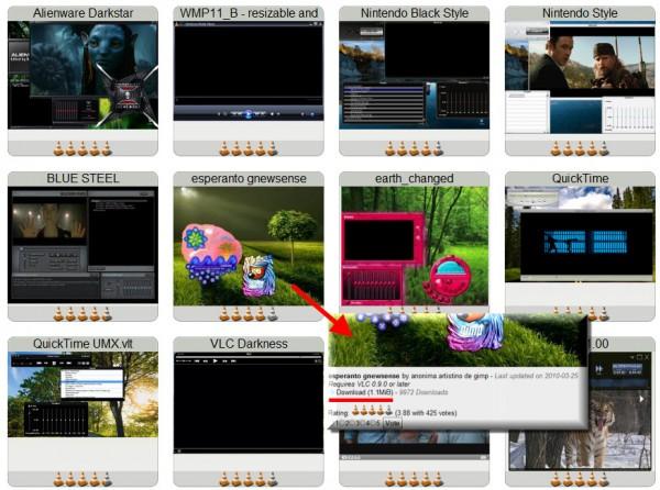 De nombreux thèmes disponibles sur le site de VLC