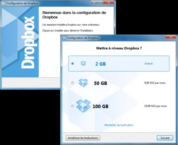 Dropbox - Processus d'installation