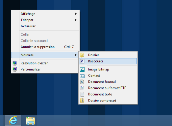 Comment mettre raccourci sur bureau windows 8 for Bureau windows 8