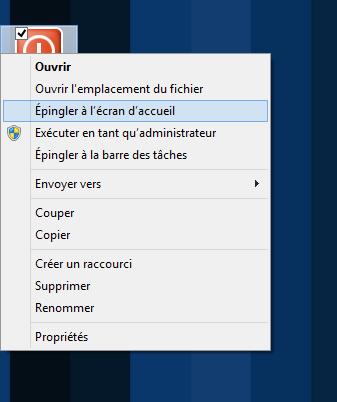 Épingler le raccourci au menu d'Accueil de Windows 8