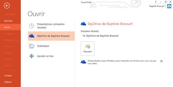 Connecter SkyDrive et Office 2013