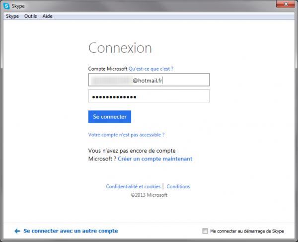Idenitfiants de connexion Hotmail