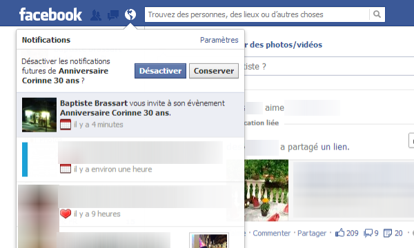 Désactiver les notifications Facebook