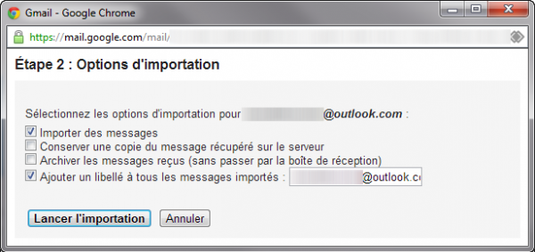 Options d'importation Gmail