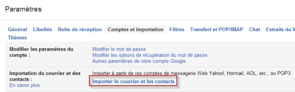 Importer le courrier et les contacts depuis Gmail