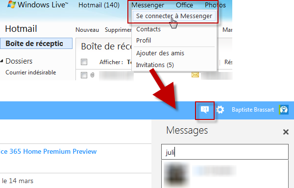 Chatter sur Outlook.com
