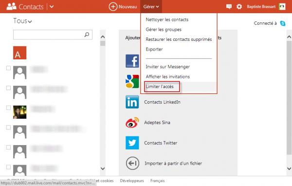 Limiter l'accès depuis Outlook