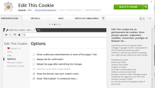 Page de téléchargement Edit This Cookies