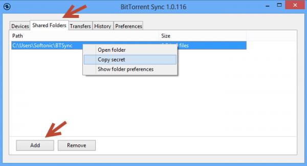 Dossiers partagés BitTorrent Sync