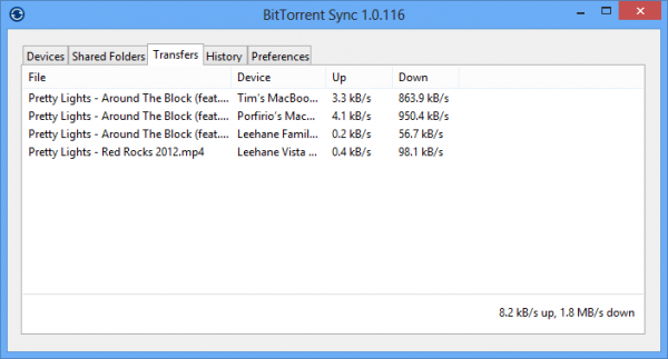Transferts en cours BitTorrent Sync