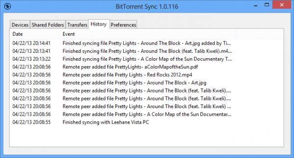 Historique des opérations BitTorent Sync