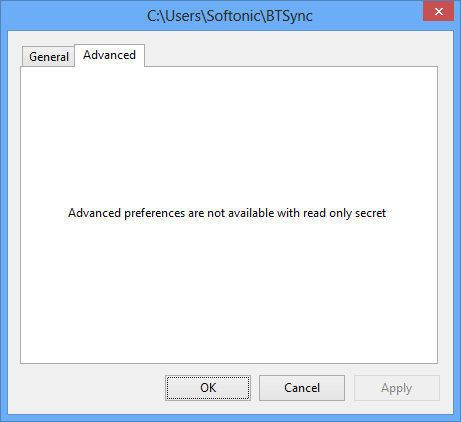 Onglet Advanced BitTorrent Sync