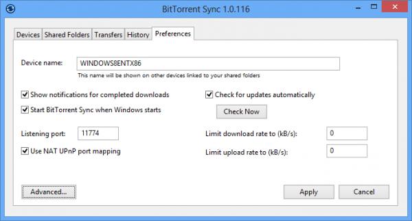 Preferences BitTorent Sync