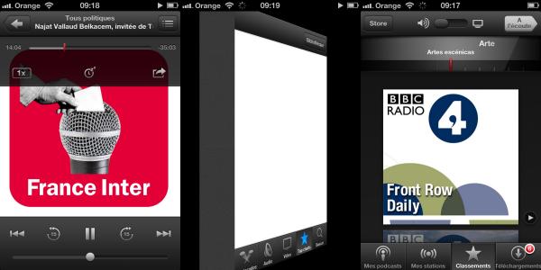 Captures d'écran Podcasts