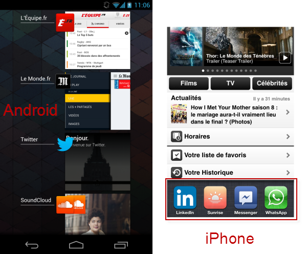 Comparaison iPhone Android