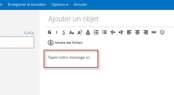 Guide Outlook.com : Tapez Votre Message