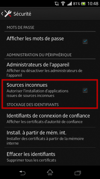 android sources inconnues
