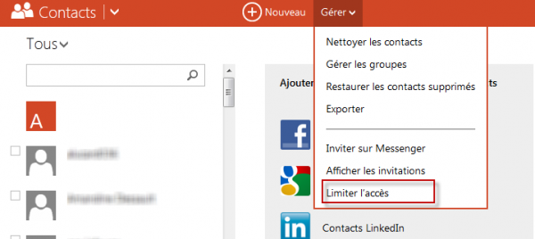 outlook limiter acces