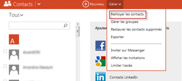 outlook nettoyer contacts
