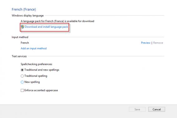 Telecharger installer module linguistique Windows 8