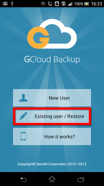 Acesso à conta existente no GCloud Backup