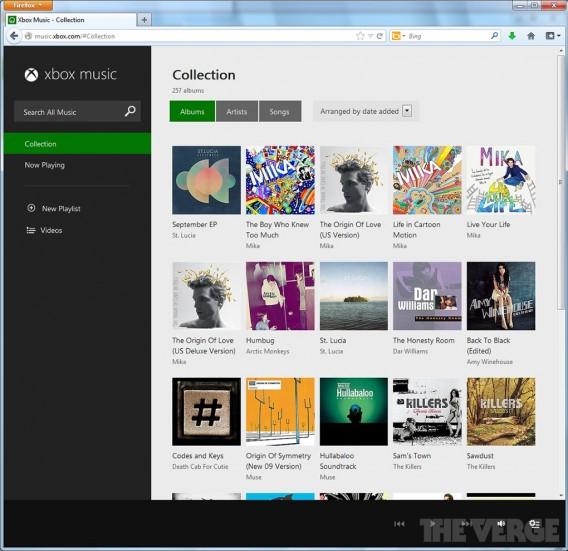 Caputre d'écran XBox Music Web