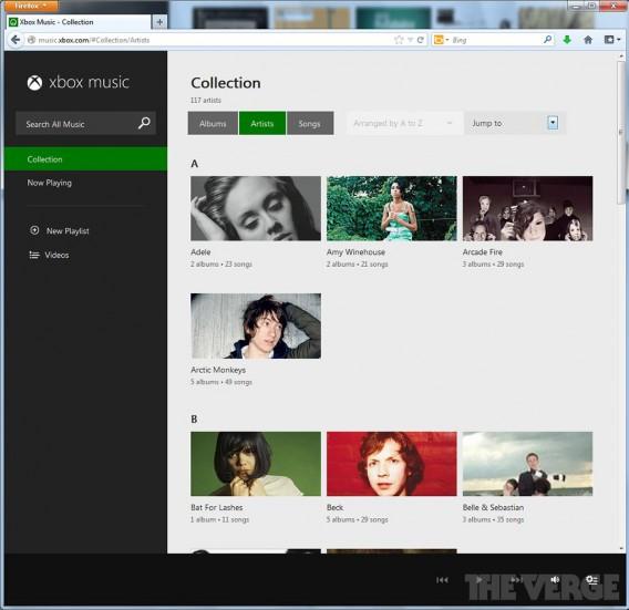 Caputre d'écran XBox Music Web 02