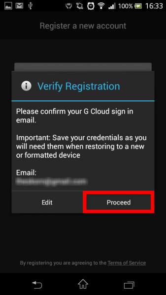 Tela de verificação de registro do GCloud Backup