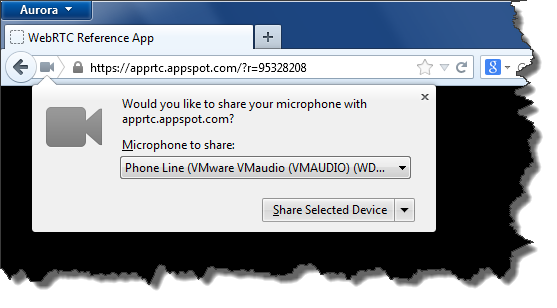 Firefox ouvre un pop-up et l'ouverture de la webcam