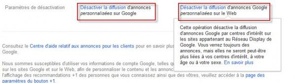 Réglage des annonces personalisées Gmail