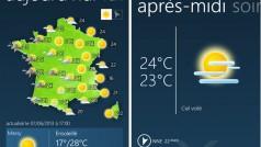 Windows Phone 8 a son application Météo-France