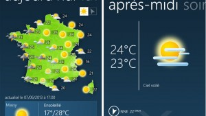 Windows Phone 8 a son application Météo-France