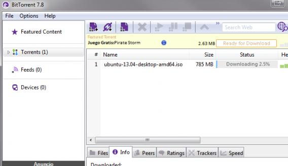 Capture d'écran BitTorrent