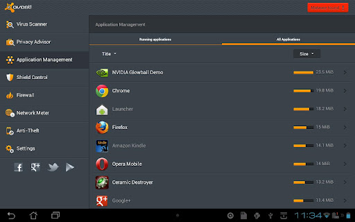avast mobile security tablette android