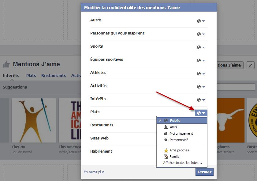Vos centres d'intérêt Facebook Graph Search