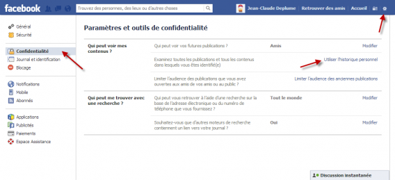 Historique personnel Facebook Graph Search