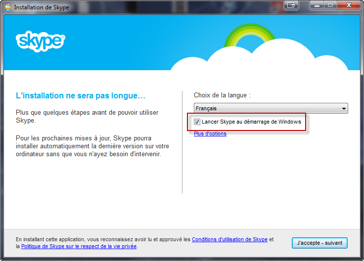 Lancer Skype au démarrage