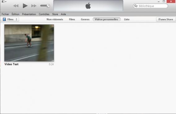 Vidéos personnelles iTunes