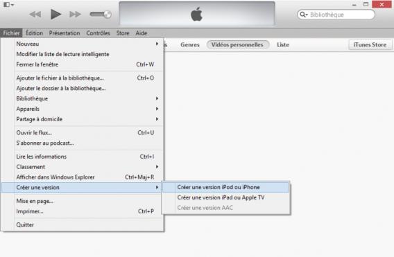 Convertir vidéo iTunes
