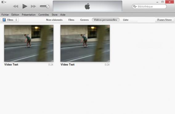 2 vidéos au format différent iTunes