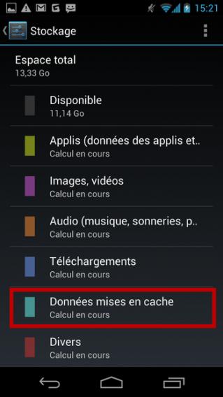 Android - menu Stockage