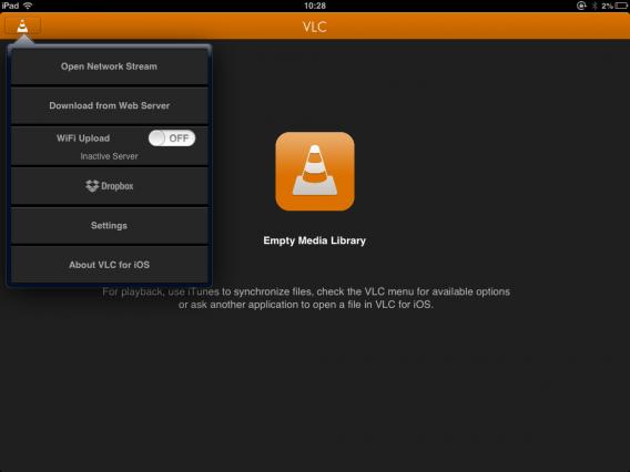 VLC iOS Start Screen