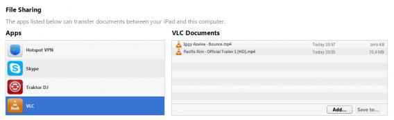 VLC iOS sync files